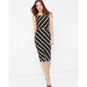 WHBM Black Sleeveless Diagonal Sheath Dress